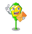 with envelope lamp post in isolated on mascot vector image vector image
