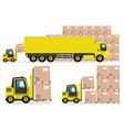 yellow truck and forklift in warehouse vector image vector image