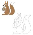 squirrel holding a nut vector image