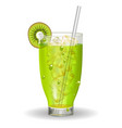 a glass of kiwi juice with ice and a straw vector image