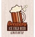 beer on wooden boards vector image vector image
