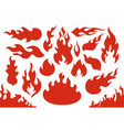 blazing fire flames flaming red wildfire fiery or vector image vector image