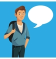 boy teen rucksack student with bubble speech vector image vector image