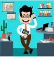 Cartoon businessman in style of flat design vector image