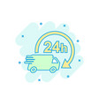 cartoon colored delivery truck 24h icon in comic vector image vector image