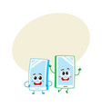 cartoon mobile phone characters one arms akimbo vector image vector image