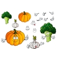 Cartoon pumpkin garlic and broccoli vegetables vector image vector image