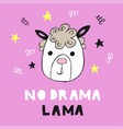 cute poster with hand drawn funny lama vector image vector image