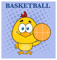 cute yellow chick character holding a basketball vector image