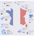 Dot And Flag Map Of France Infographic Design vector image