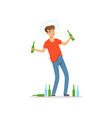 drunk man standing among empty bottles on the vector image