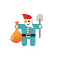 figure garden gnome with shovel and harvest vector image