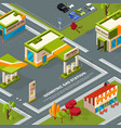 fuel station in urban landscape isometric vector image vector image