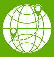 globe icon green vector image vector image