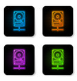 glowing neon hard disk drive on sharing network vector image vector image