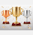 gold and silver cups sport trophy goblets glory vector image