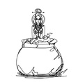 Halloween witch preparing potion vector image