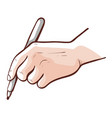 hand holding a pen writing or putting document vector image