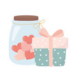 happy valentines day gift box and jar glass vector image vector image