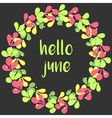 Hello june wreath card vector image vector image