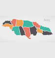 jamaica map with states and modern round shapes vector image vector image