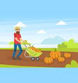 man farmer collecting pumpkins agricultural vector image vector image