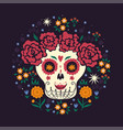 mexican girl skeleton mood day vector image vector image