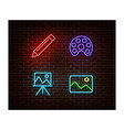 neon pencil paint picture easel signs is vector image vector image