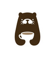 otter coffee cup drink negative space logo icon vector image
