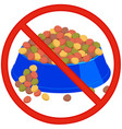 pet overfeeding danger colorful cartoon sign vector image vector image