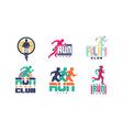 run sport club logo templates collection vector image vector image
