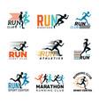 running logo marathon club badges sport symbols vector image vector image