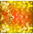 Saxophone Music and treble clef on a blurred vector image vector image