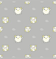 seamless pattern cute baby animals on gray vector image vector image