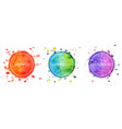 set 3 multicolor watercolor hand drawn circles vector image