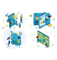 set isometric concepts business planning data vector image