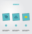 set of icons flat style symbols with libra galax vector image