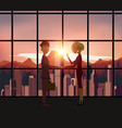 silhouette business people handshake with city vector image vector image