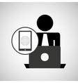 silhouette programmer working laptop mobile globe vector image vector image