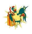 Smart cock with a glass of champagne and a gift vector image vector image