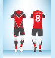 soccer jersey football t-shirt red white vector image