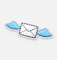 sticker flying closed envelope with wings vector image vector image