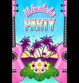 ukulele party with palm trees musical instruments vector image vector image