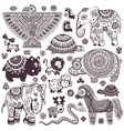 Vintage set of isolated ethnic animals and symbols vector image vector image