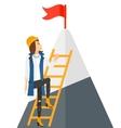 Woman climbing on mountain vector image vector image