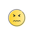 yellow cartoon face sad negative people emotion vector image vector image
