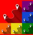 location pin navigation map gps sign set vector image