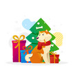 new year flat with yellow dog vector image