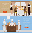 restaurant concept web banner in flat style vector image