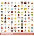 100 tale icons set flat style vector image vector image